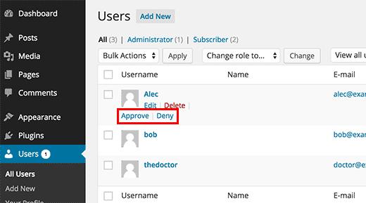 مدیریت عضویت کاربران جدید در وردپرس مدیریت عضویت کاربران جدید در وردپرس مدیریت عضویت کاربران جدید در وردپرس approve user registration
