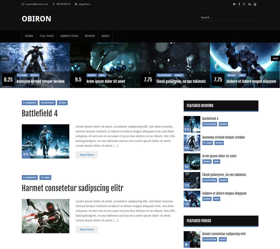 قالب بازی وردپرس Obiron قالب بازی وردپرس Obiron قالب بازی وردپرس Obiron obiron vide blog wordpress theme