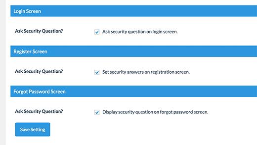 پس از تعریف سوالات دلخواه، اگر سوالی اضافی است و یا به هر دلیل مایل نیستید از آن استفاده کنید، میتوانید با کلیک بر روی دکمه Remove آن را حذف کنید.  در همین بخش، در پایین صفحه سه قسمت دیگر نیز وجود دارد که با استفاده از آنها میتوانید تعیین کنید، در چه بخش هایی سوالات امنیتی به کاربر نشان داده شوند ایجاد سوال امنیتی برای صفحه ورود وردپرس ایجاد سوال امنیتی برای صفحه ورود وردپرس enablesecurityquestions