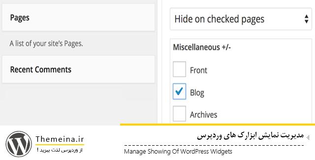 مدیریت نمایش ابزارک های وردپرس